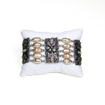 Judy Lee Bracelet, Wide, Multi Strand, Silver Tone, Faux Pearl, Gothic, Victorian, Revival, Designer, Vintage, Jewelry