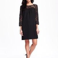 Lace-Trim Shift Dress for Women | Old Navy