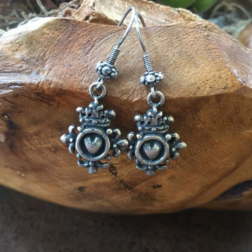 Rustic Heart Crown Fleur Silver Dangle Earrings Jewelry by Two Silver Sisters