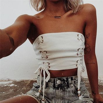 Women Fashion Solid Color Crisscross Bandage Sleeveless Off Shoulder Crop Tops Wrap Chest