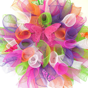Mothers Day, Spring wreath, Summer wreath, Spring Decor, Summer decor, Butterfly wreath, Home decor, deco mesh wreath, housewarming gift