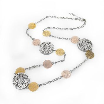 Gold Plated Round Flower Long Necklace Chain Crystal