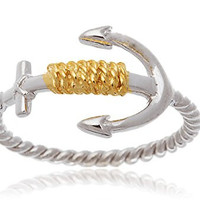 925 Sterling Silver Two-tone Rope and Anchor Ring (8)