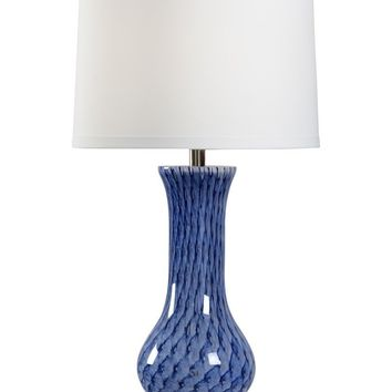 Hand Blown Lapis Glass Lamp