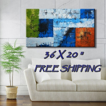 36 x 20 inch Original Textured Abstract Acrylic Painting  on Canvas Wall Decor