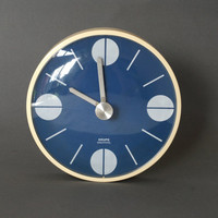 KRUPS Wall Clock, Made in Germany 1970s, Retro Kitchen, Blue Kitchen Clock, West German, Space Age, Panton Style, Pop Art, Modern Vintage