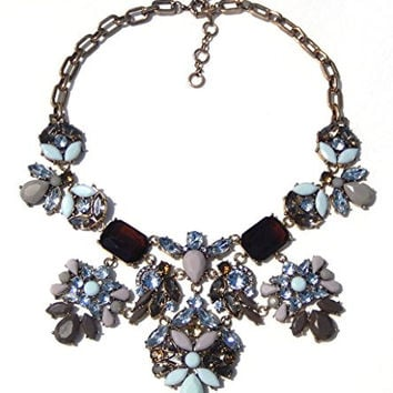 Kali Collection Large Party Statement Necklace in Vintage Colors of Crystal and Milk Stone