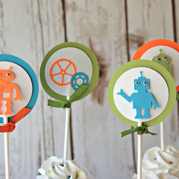 Robot Themed Party Cupcake Toppers (set of 12)
