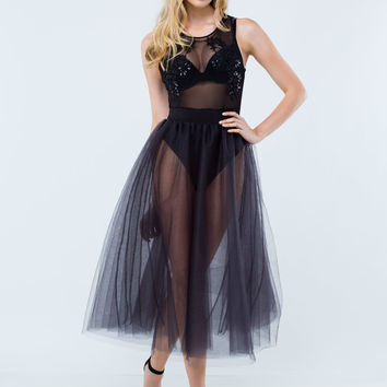 Tulle Of A Kind Sheer Midi Dress