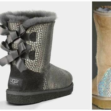 CUPUPS Swarovski Crystal Embellished Holiday Limited Edition Bailey Bow Bling Uggs - Winter /