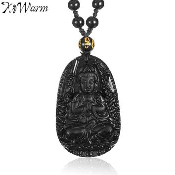 KiWarm Chinese Natural Black Obsidian Carved Thousand hand Bodhisattva GuanYin Buddha Pendants Necklace Gemstone Fengshui Crafts