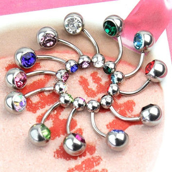 Simple Trendy 12pcs Women's 316L Surgical Steel Crystal Belly Button Navel Stud Bar Ring Piercing Jewelry WTU(With Thanksgiving&Christmas Gift Box) (Size: One Size, Color: Multicolor) = 1958037060