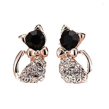 Basket Hill. Cat / Kitty Black and Clear Crystals Body ,Girls Post Earrings