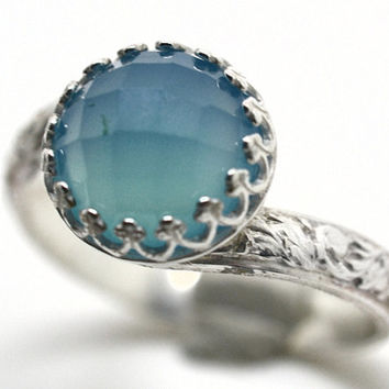 Blue Chalcedony Ring, Patterned Silver Ring Band, Blue Gemstone Engagement Ring, Sterling Silver Handforged Cocktail Ring