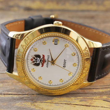 Vintage Kapitan Mockba Admiral Flot watch gold plated soviet watch ussr cccp mens watch