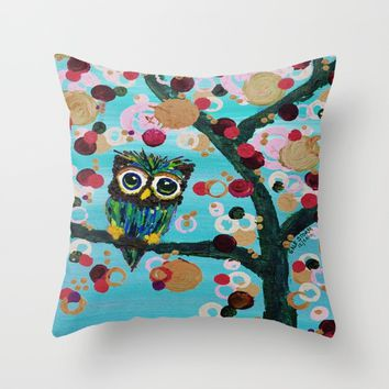 :: Gemmy Owl Loves Jewel Trees :: Throw Pillow by :: GaleStorm Artworks ::