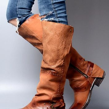 Choudory Low Heels Women Winter Boots Cowboy Spring Fall Knee High Boots Chunky Heels Genuine Leather Casual Riding Booties