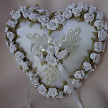 Ring Pillow, White paper roses heart pillow