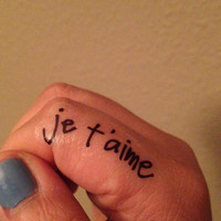 Temporary Handwritten Je T'Aime Tattoo