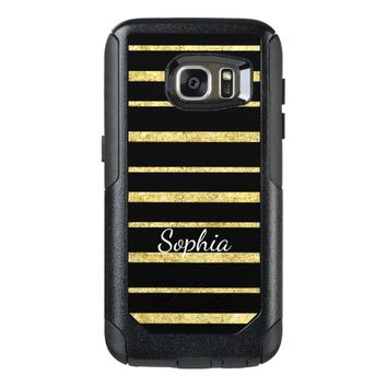 Glam Gold Stripes Personalized OtterBox Samsung Galaxy S7 Case
