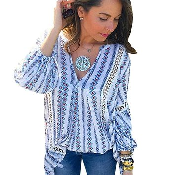 2017 Summer Hollow Out Ladies Boho Tops Long Sleeve Womens Sexy Blouse Femme Deep V Neck Causal Striped Shirts Vintage Blusas