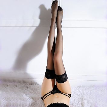 Women Lace Top Stockings Sexy womans 20D Ultrathin Sheer Silk Over Knee Thigh High Hosiery,Sexy Silicone Band Stay up Stockings