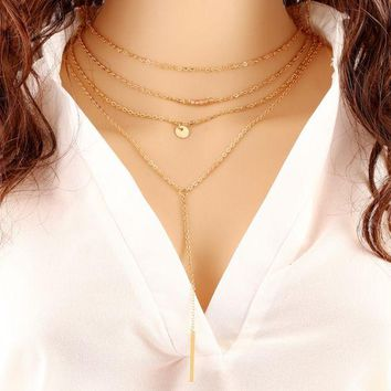 ONETOW Big simple bar stick beads beads multi - storey necklace