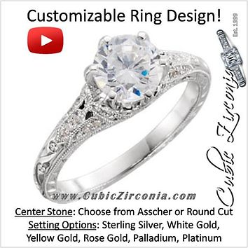 Cubic Zirconia Engagement Ring- The ________ Naming Rights 698-03 (Customizable Vintage with Filigree Band)