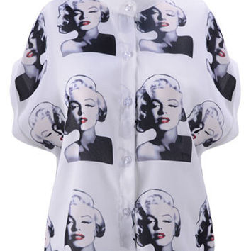 Black and White Stand Collar  Buttons Up Marilyn Monroe Print Blouse