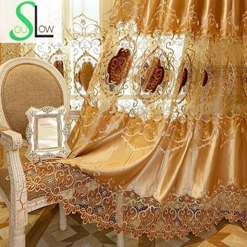 Silk Cloth Curtain Home Furnishing New Water Soluble Embroidered Bedroom Living Room Curtains French Window Luxury Cortinas