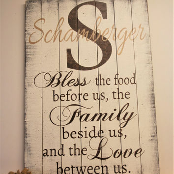 Bless The Food Pallet Sign Wood Sign Kitchen Sign Dining Room Sign Dining Room Wall Decor Farmhouse Decor Christian Wall Art