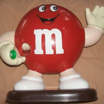 Vintage Mars M&Ms Red M and M Character Smiling Waving Figure 1991 Collectible Candy Dispenser