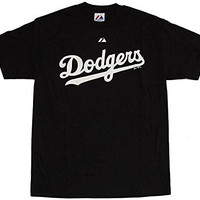 adidas Los Angeles Dodgers MLB Wordmark Logo Youth T-shirt, Black (Youth Large (14-16))