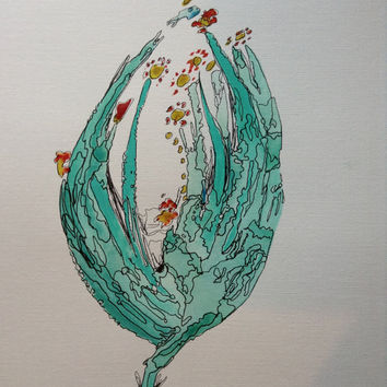 Original art illustration and painting of floral bud, watercolor and acrylic on canvas,earthy,turquoise and modern home decor