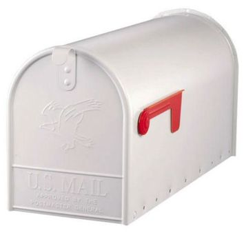 Gibraltar E11600W00 Elite Post Mount Mailbox with Steel Latch, Large, White