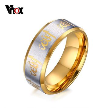 Vnox Allah Prayer Rings Men Jewelry Black Gold-color Arabic Islamic Muslim Religious Male Ring