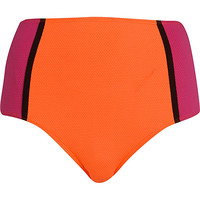 River Island Womens Pink color block high waisted bikini bottoms