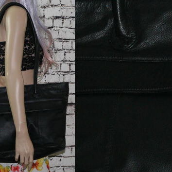 90s Black leather purse large bag tote carry all on grunge hipster punk goth gypsy boho festival 70s
