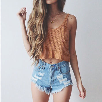 Summer Off Shoulder Knitted Bustier Crop Top Camis