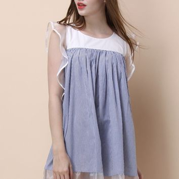 Frilling Delight Dolly Dress in Blue Stripes