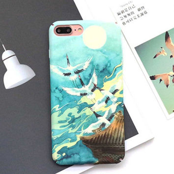 Lovely Cherry Blossom Moon Case For iphone 7 Case Fashion Hard Phone Cases Cartoon Crane Back Cover For iphone7 6 6S PLus -03129