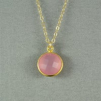 Pink Chalcedony Necklace, Gold Vermeil Bezel, 14K Gold Filled Chain, Lovely Stone Jewelry