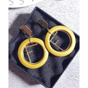 FENDI Fashion Women Classic Earrings 925 Silver Needle Cortical Circular Metal Letters Earrings Stud Earrings Yellow I12857-1