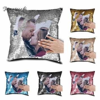 Personalized Home Decorative Sequin Pillows Cushion Cover Photo Image