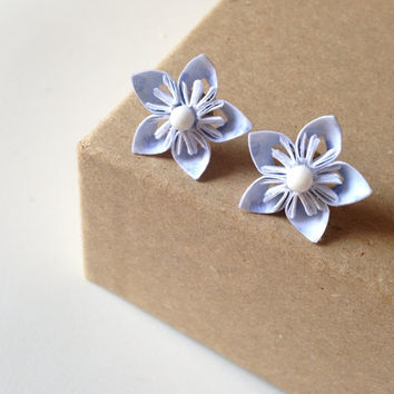 Mini Cherry Blossom Origami Earrings - Light Blue Paper with White Center - Bridesmaids, Gifts for Her