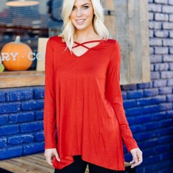 Embry Corset Detail Top - Red (S,M,L)
