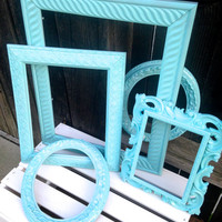 Tiffany Blue- Shabby Chic-Painted Frames-Set of 5-Wood and plastic frames-Unique designs-Home Decor- Wedding Decor-Sizes 5x7 up to 11x14