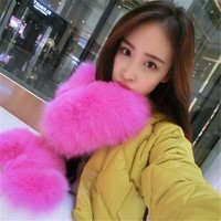 Fur gloves fox fur gloves leather gloves female winter warm gloves