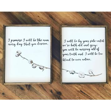 Custom vows sign with Cotton Stem