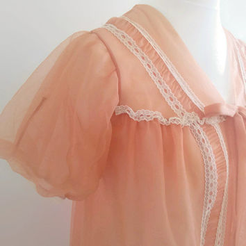 Vintage peach peignoir - swishy 1960s sheer robe  -  white lace negligee - retro pin up lingerie